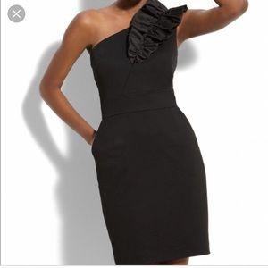 Worn once! Trina Turk Ruffled Shoulder Dress